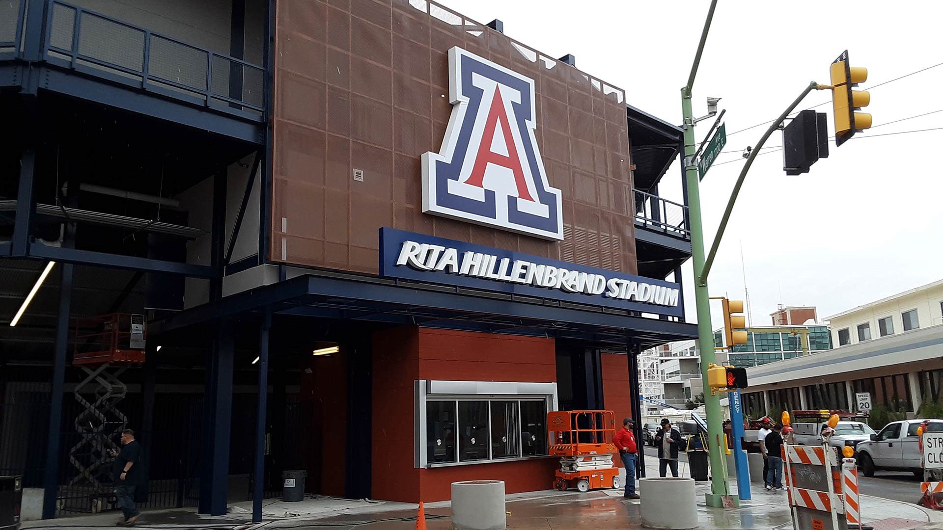 "Renovated Rita Hillenbrand Stadium is the latest UA athletic facility to sport the ""A"" logo."