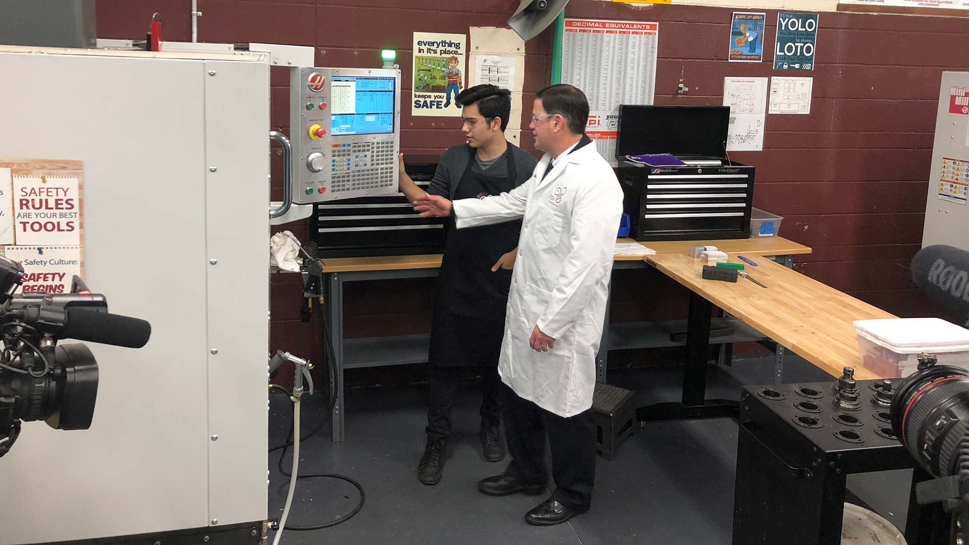 Gov. Doug Ducey tours the JTED program at Desert View High School in Tucson.  February 15, 2019