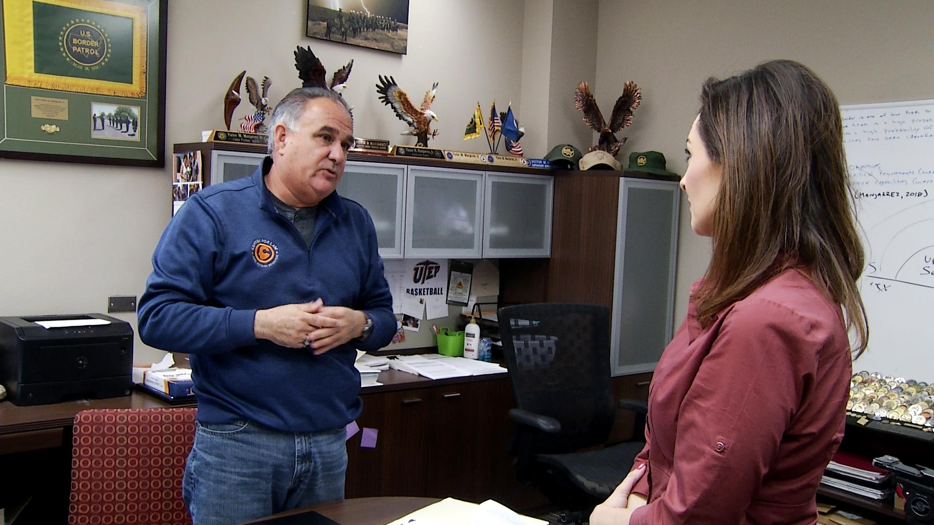 Former Tucson Sector Chief Victor Manjarrez speaks to Arizona 360 host Lorraine Rivera in his office at the University of Texas at El Paso on February 11, 2019. After retiring from the Border Patrol, Manjarrez became associate director for UTEP's Center for Law and Human Behavior.