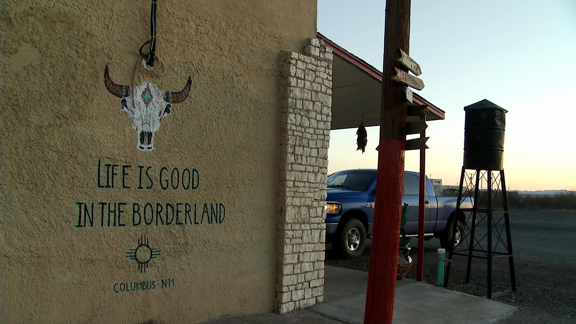 A mural outside the Borderland Cafe in Columbus, New Mexico on February 12, 2019.