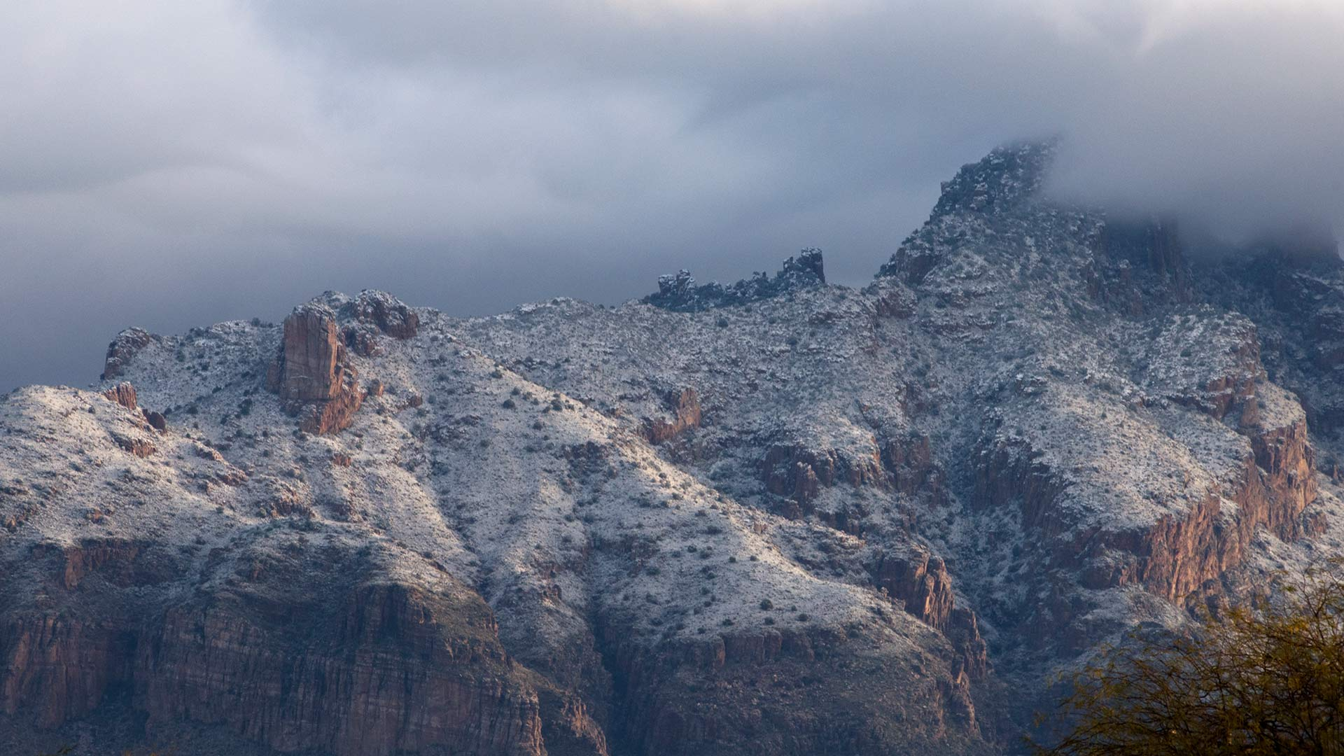 Snow on Catalina Mtns HERO
