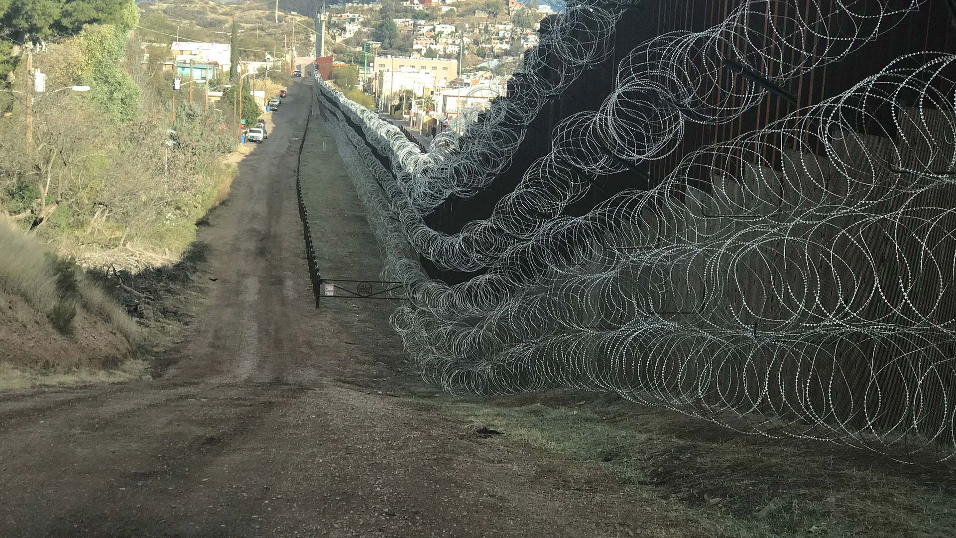 Five additional rows of concertina wire added to border fence in Nogales, Arizona, by U.S. Army soldiers, Feb. 6, 2019.