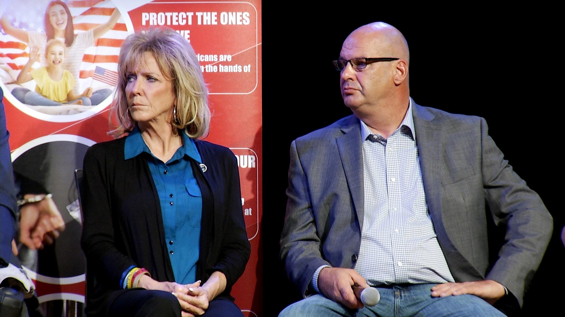 Mary Ann Mendoza and Steve Ronnebeck participate in a town hall event for the We Build the Wall organization hosted by the Quail Creek Republicans in Sahuarita on February 8, 2019. Mendoza and Ronnebeck are the parents of two men killed in separate instances by immigrants in the country illegally.