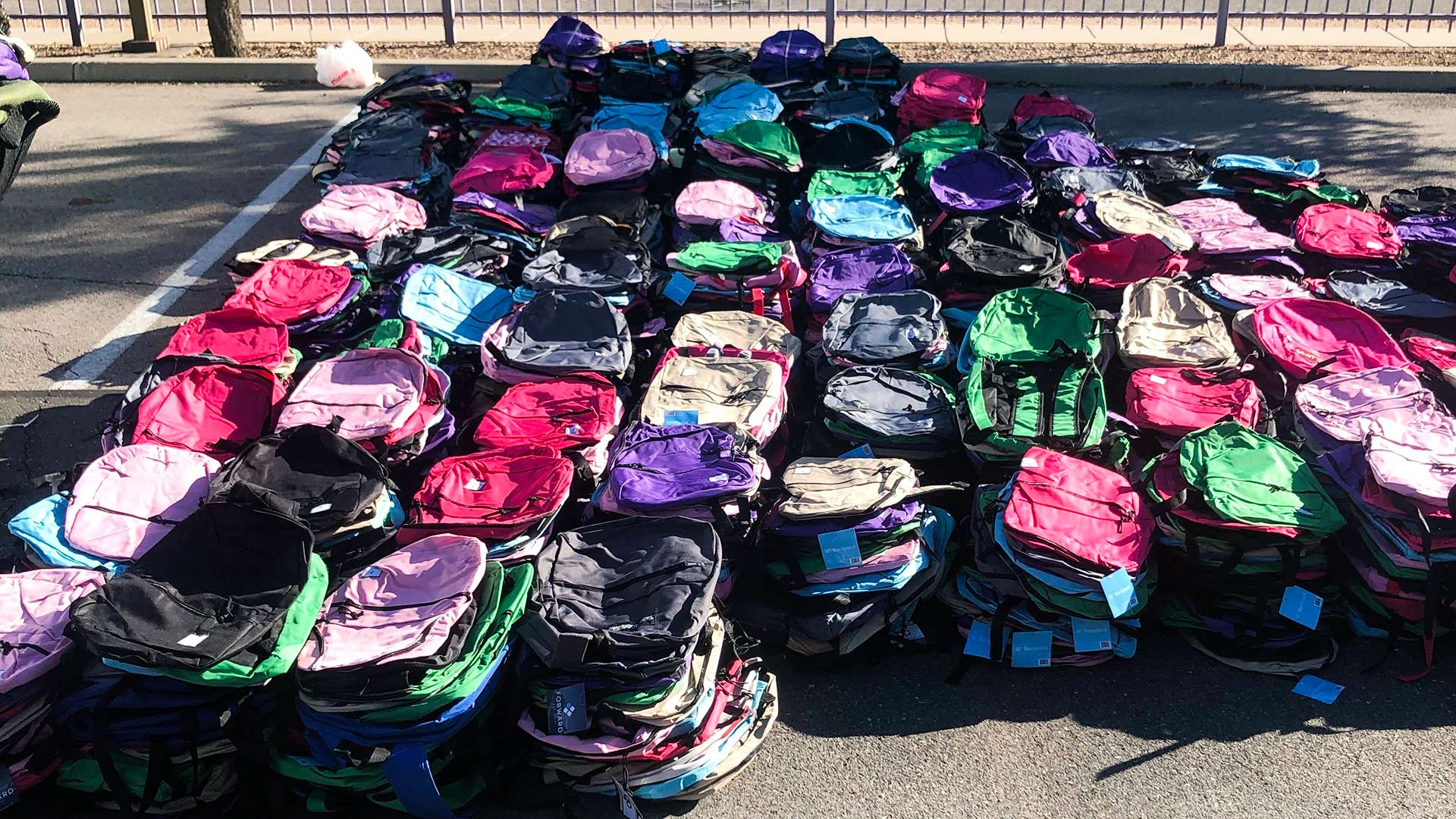 Backpacks ready for distribution to at-risk youth.