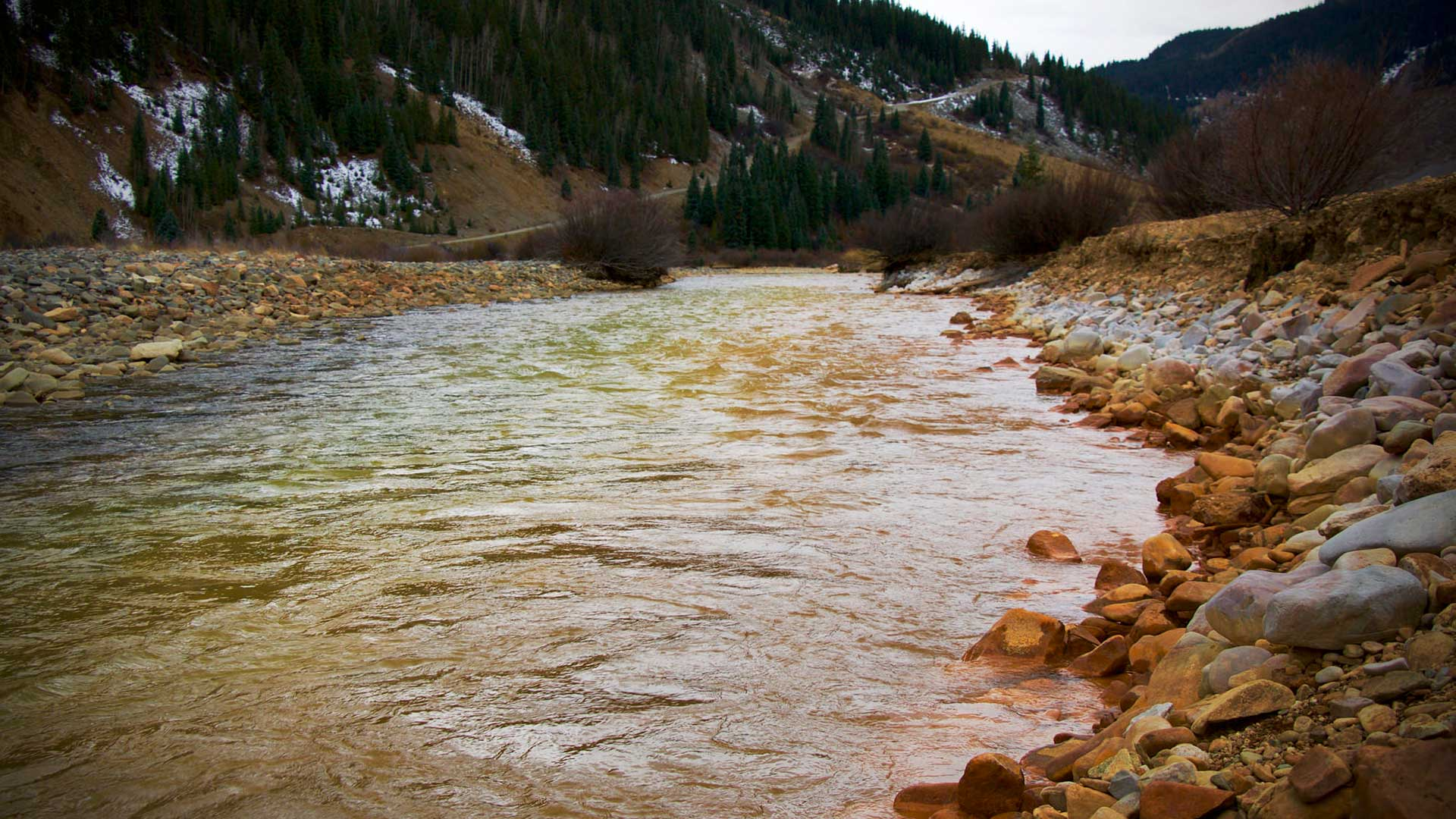 This Environmental Protection Agency photo shows the Animas River with pollution from the Gold King Mine. The 2015 spill in Colorado impacted the Navajo Nation.