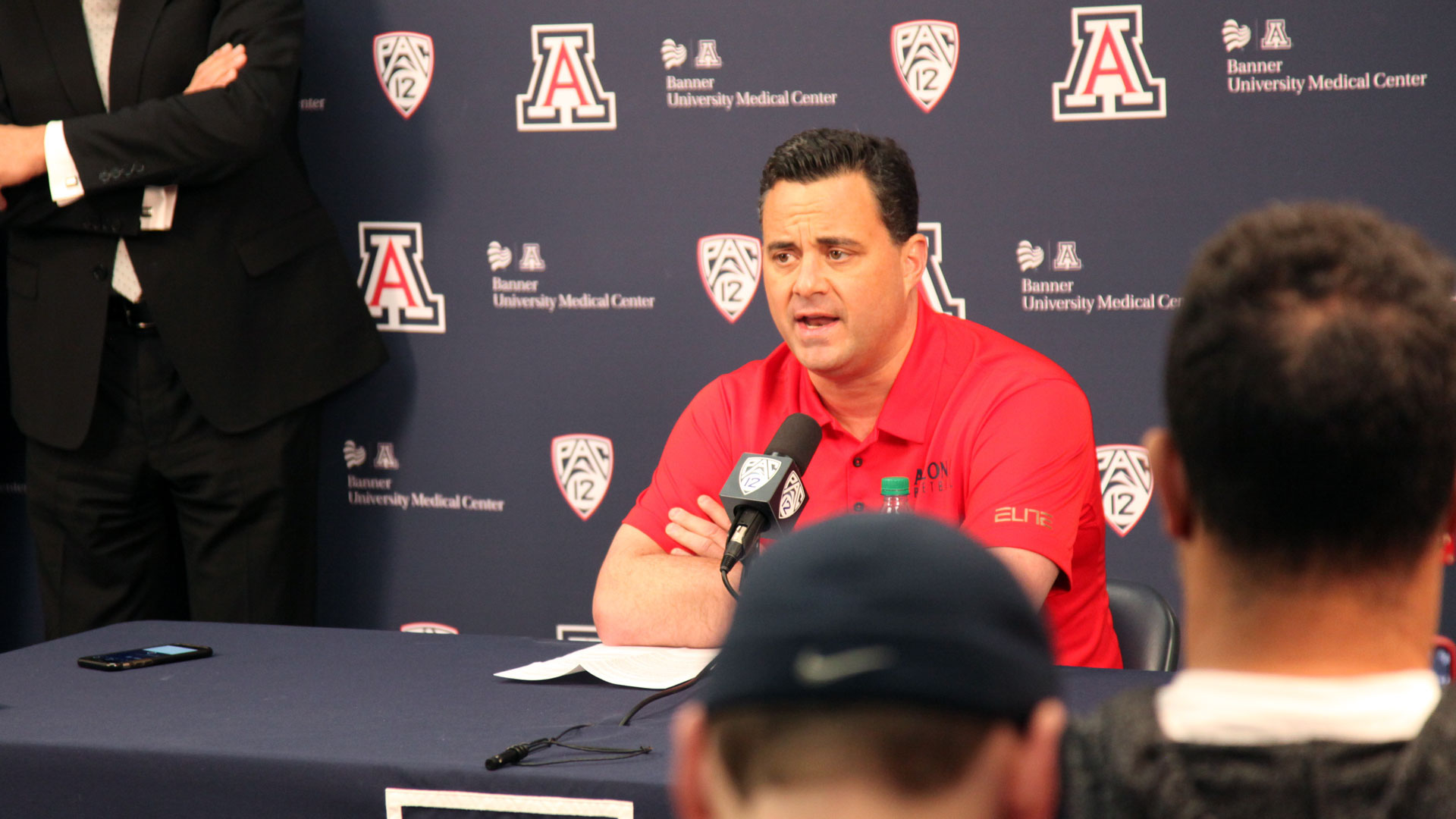 Arizona basketball coach Sean Miller speaks to the media, February 2018.