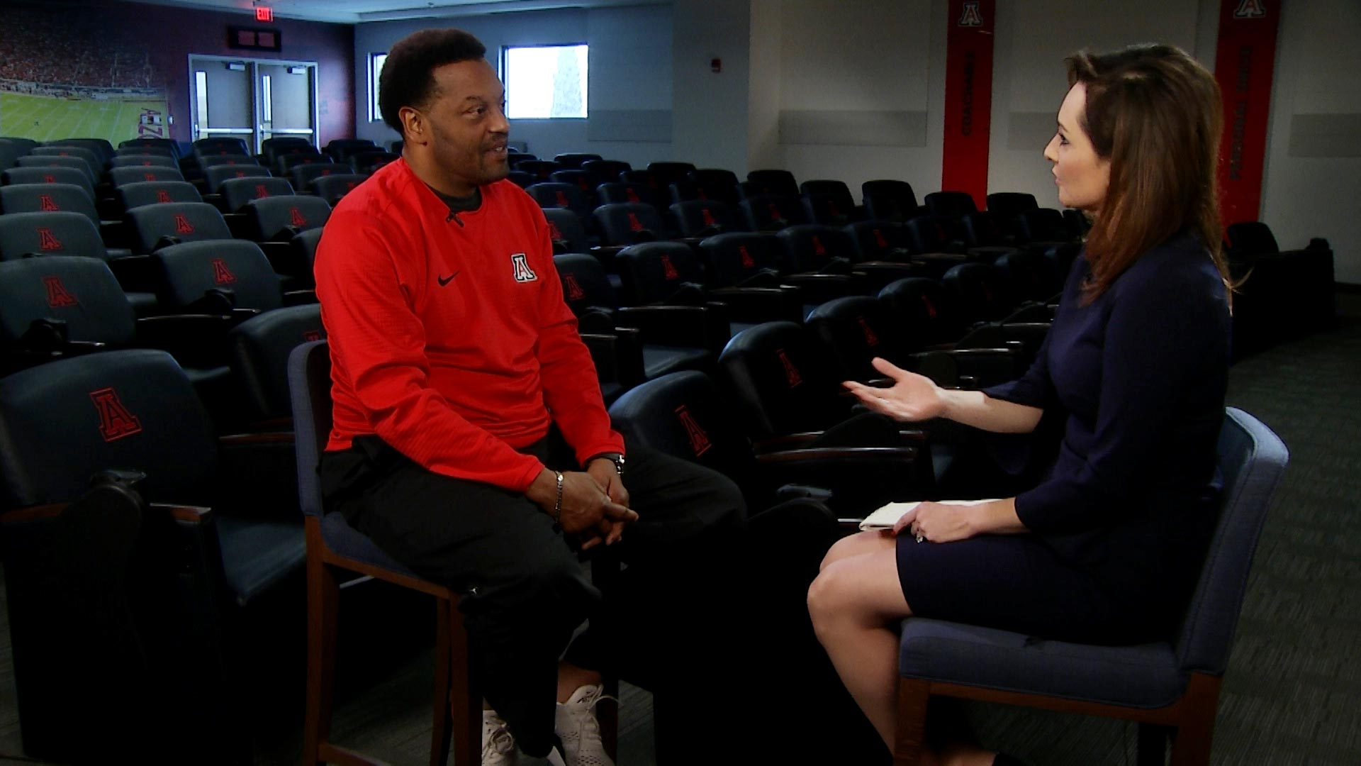 University of Arizona football coach Kevin Sumlin sits down with Lorraine Rivera inside Arizona Stadium for an interview on February 22, 2019.