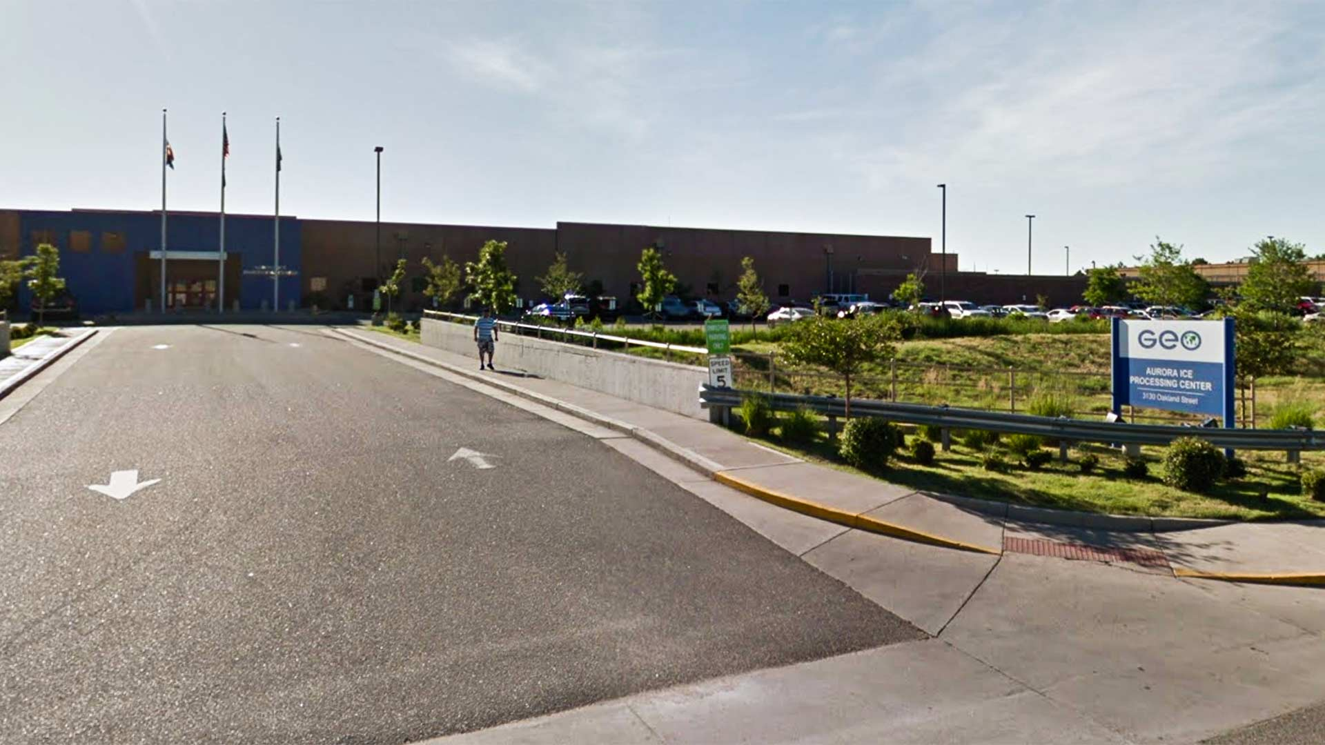 Google Street View image of the entrance to the GEO Group's immigrant detention facility in Aurora, Colorado.