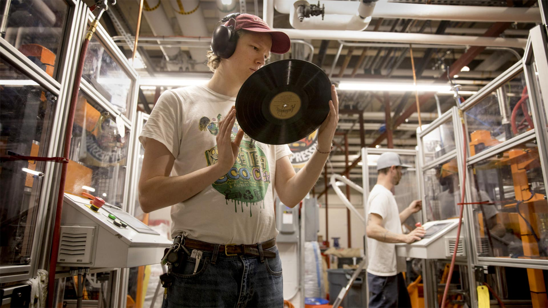 Willem Ytsma inspects a record at Alexandria's Furnace Record Pressing, the country's newest vinyl manufacturing plant. Renewed interest in records has breathed new life into a format long thought dead.