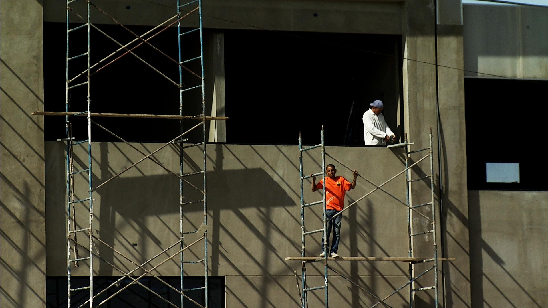 Workers at a construction site in Nogales, Sonora on March 4, 2019.