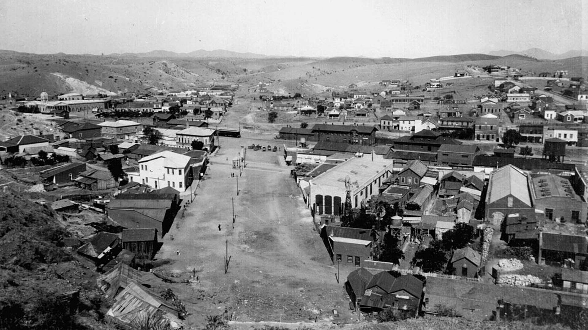 This cropped photo scanned from the collection of the Pimeria Alta Museum shows International Street separating Nogales, Sonora, and Nogales, Arizona, circa 1900.