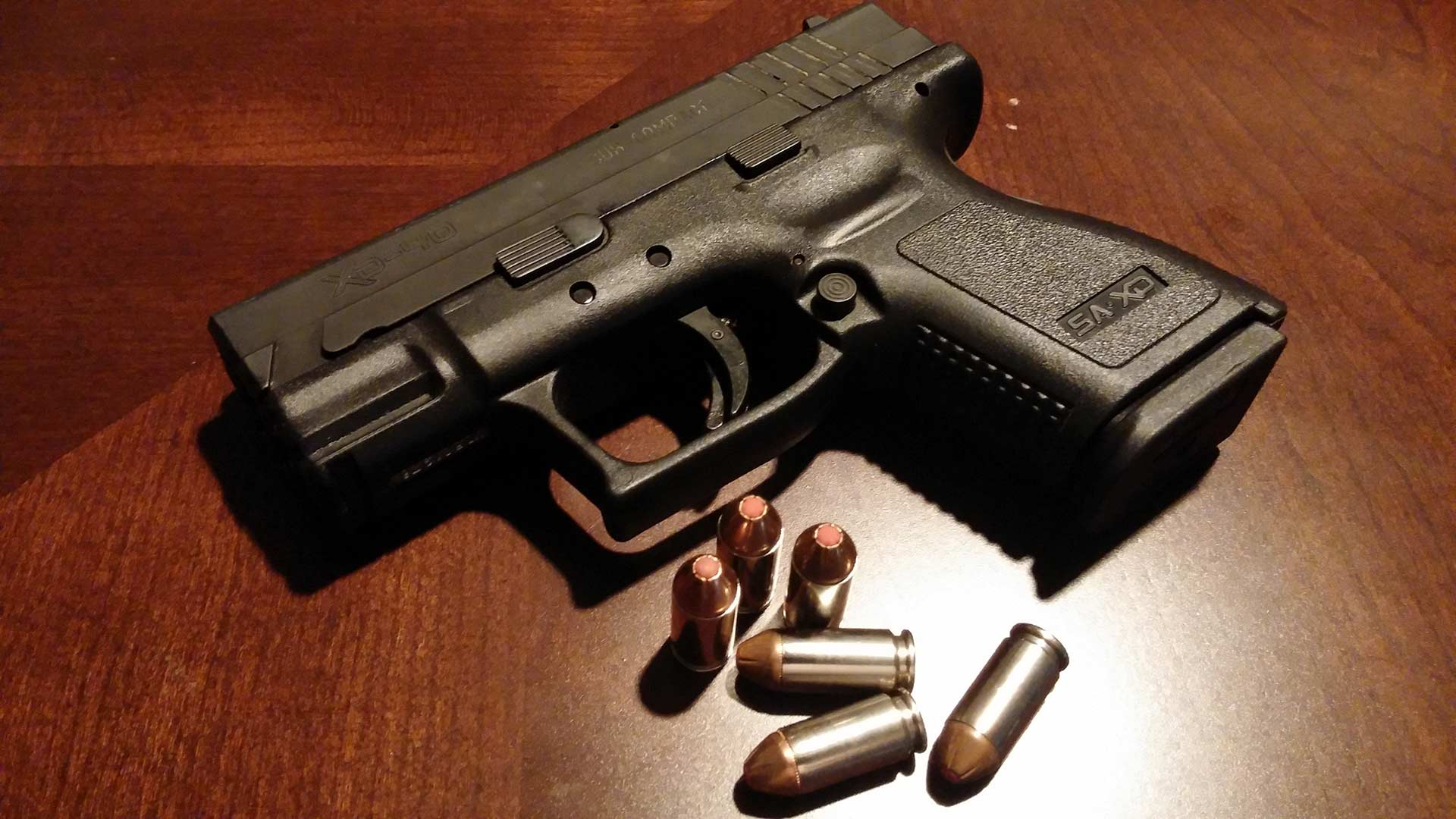 A handgun and ammunition.