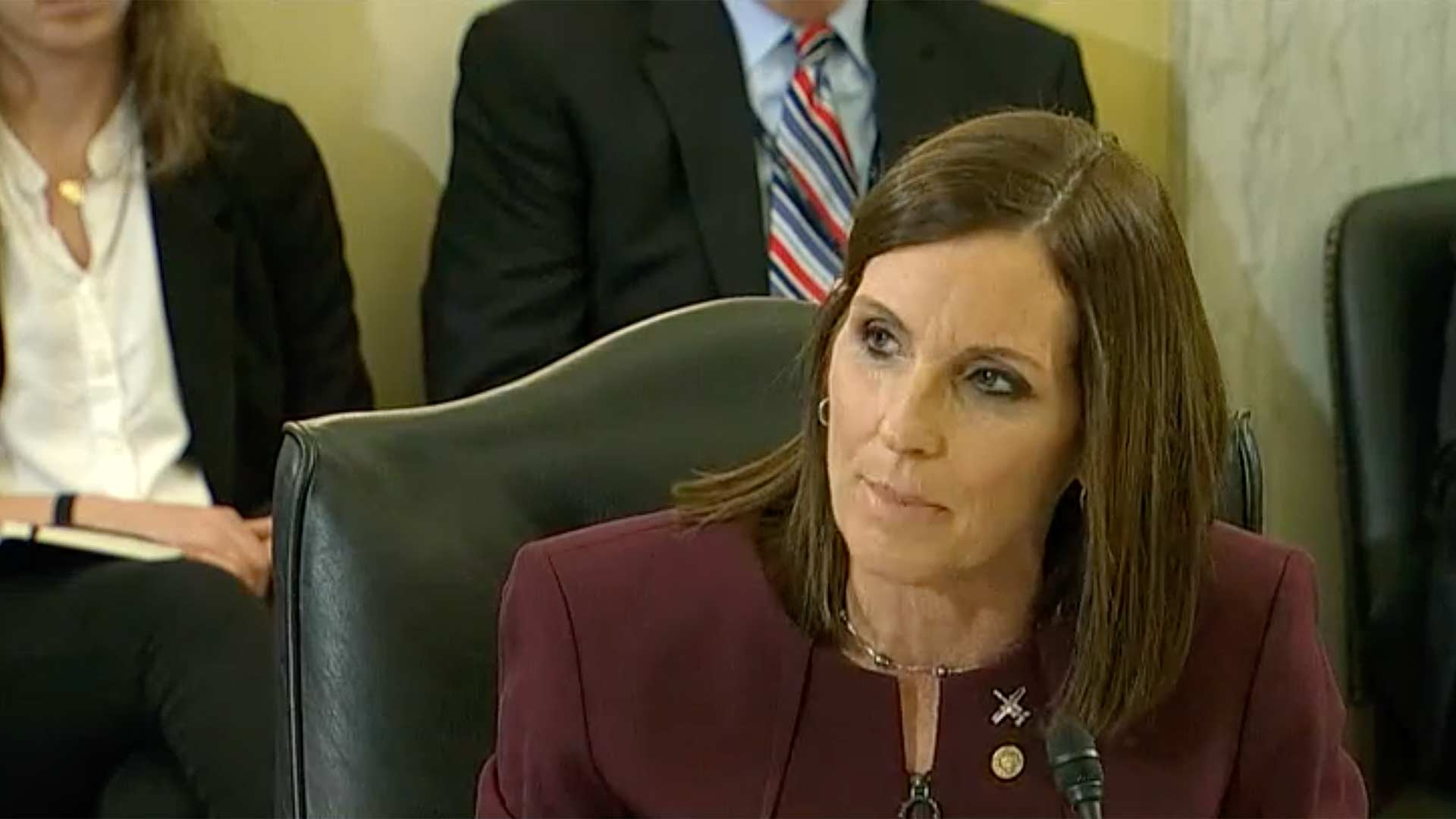 Sen. Martha McSally speaks at the Senate Armed Services Committee hearing on military sexual assault, March 6, 2019, in this still image from C-SPAN video.