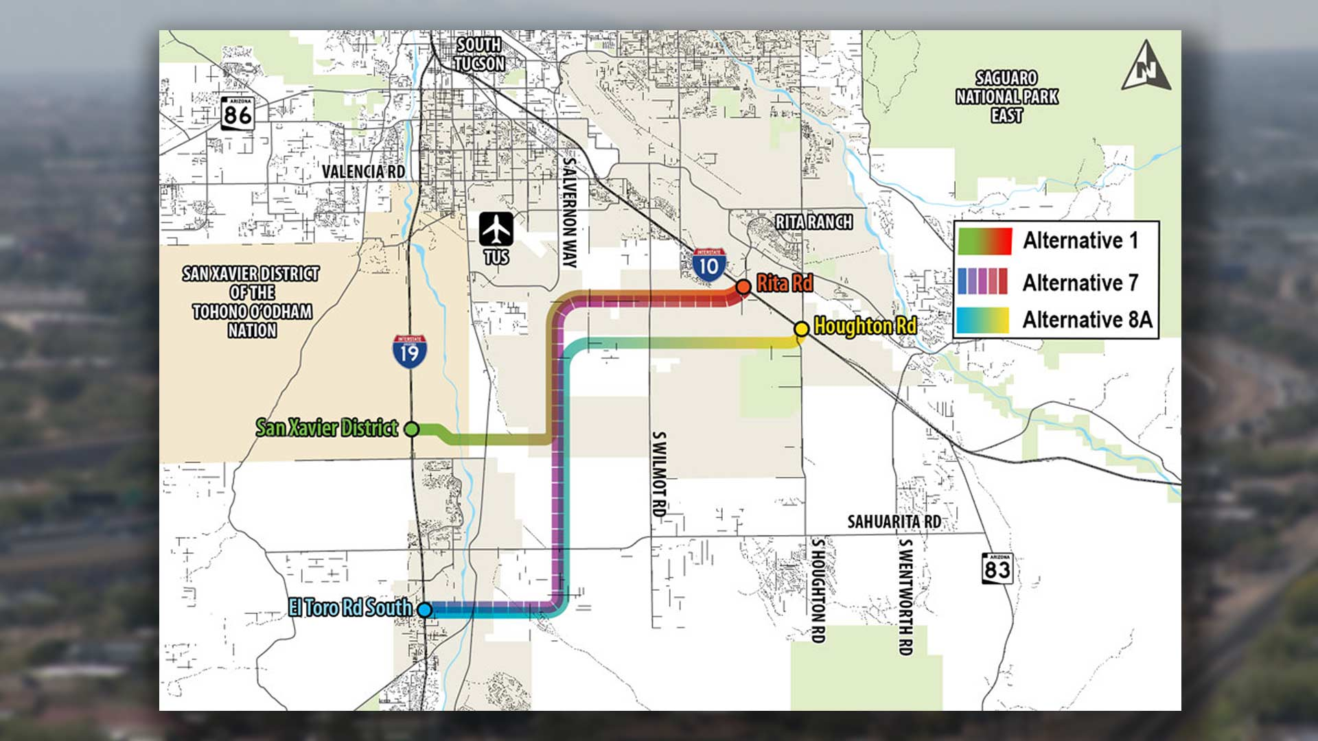 "Three proposed routes for the ""Sonoran Corridor"" freeway project shown in an Arizona Department of Transportation [map](https://www.azdot.gov/planning/transportation-studies/sonoran-corridor-tier-1-environmental-impact-statement/sonoran-corridor-alternatives) published in connection with a March 7, 2019 meeting and public comment period lasting through April 7."