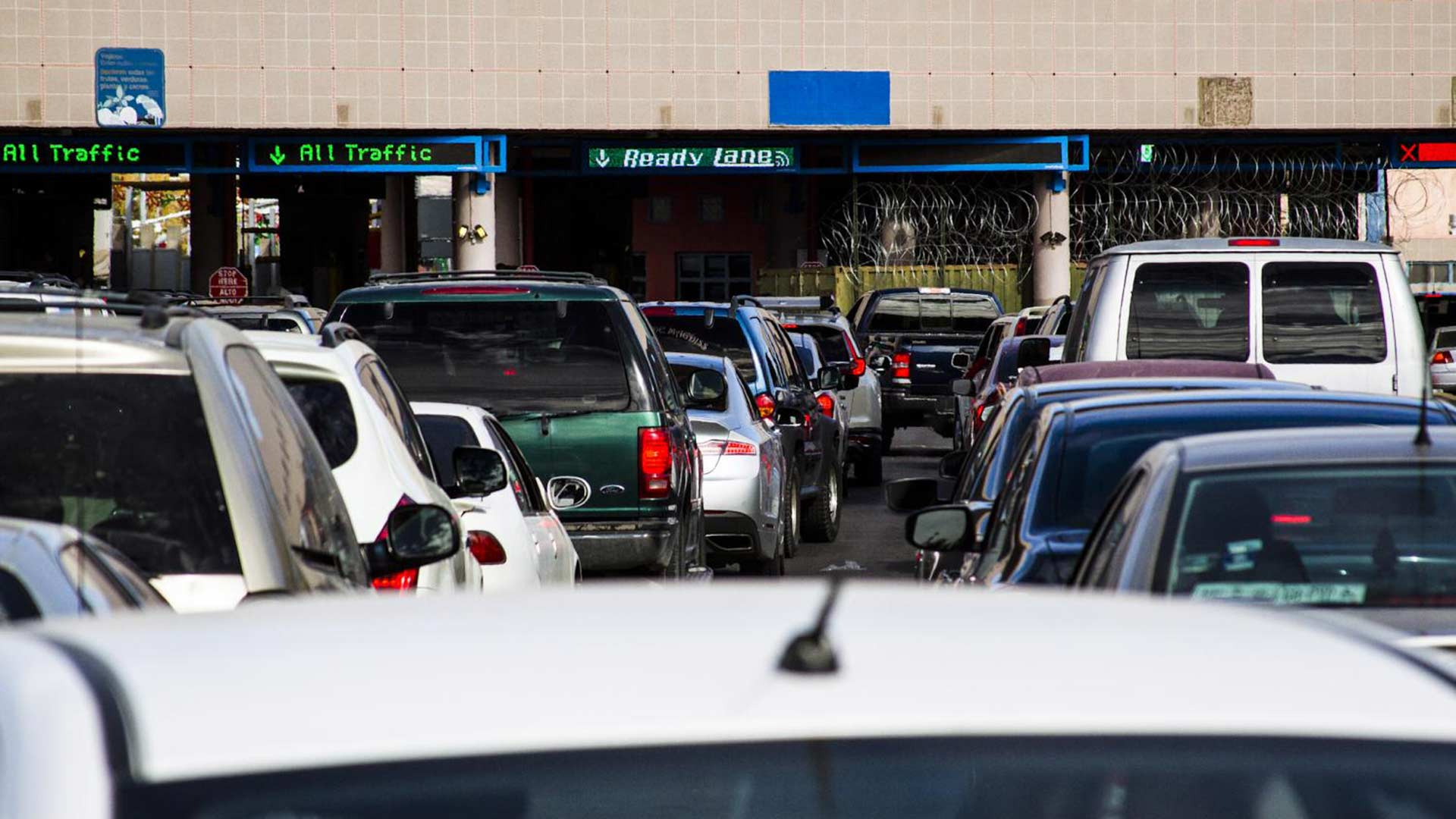 Motorists wait to cross at the Dennis DeConcini Port of Entry in Nogales, Sonora, in February 2019.