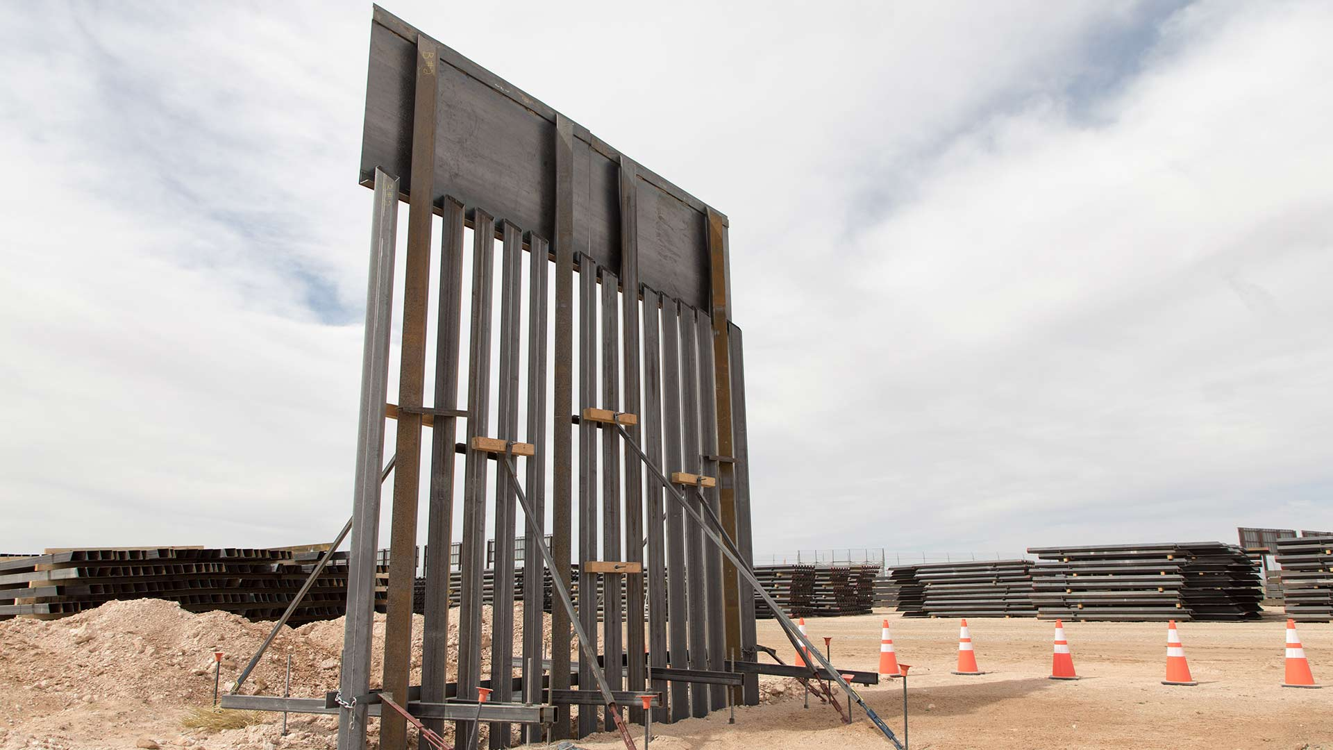 Bollard-style fencing is staged near the Santa Teresa Port of Entry, in New Mexico, April 2018.