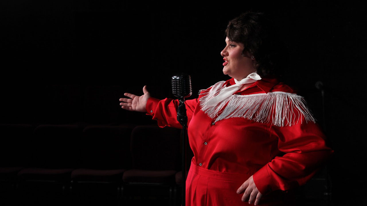 "Amanda Gremel sings and performs as Patsy Cline in Live Theatre Workshop's production of ""Always... Patsy Cline""."