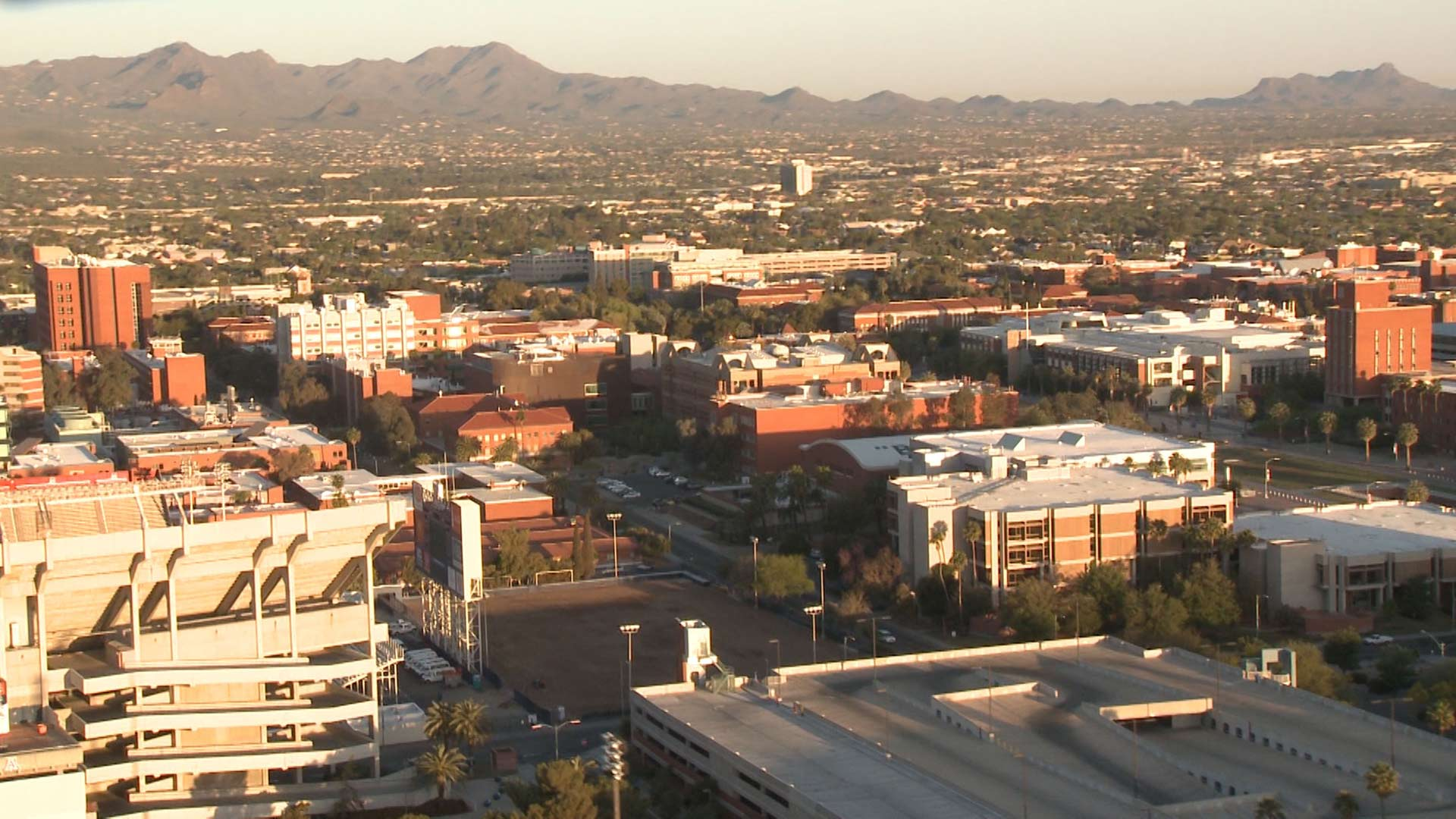 An aerial view of the University of Arizona campus.