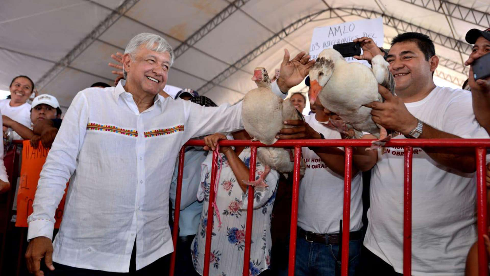 Mexican President Andrés Manuel López Obrador, or AMLO, during a rally in the state of Campeche, Mexico, February 2019.