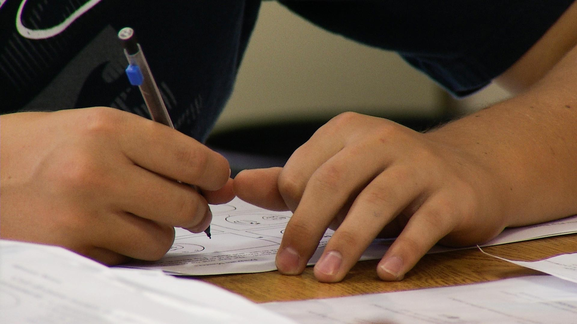 A student in the Vail School District works in class.