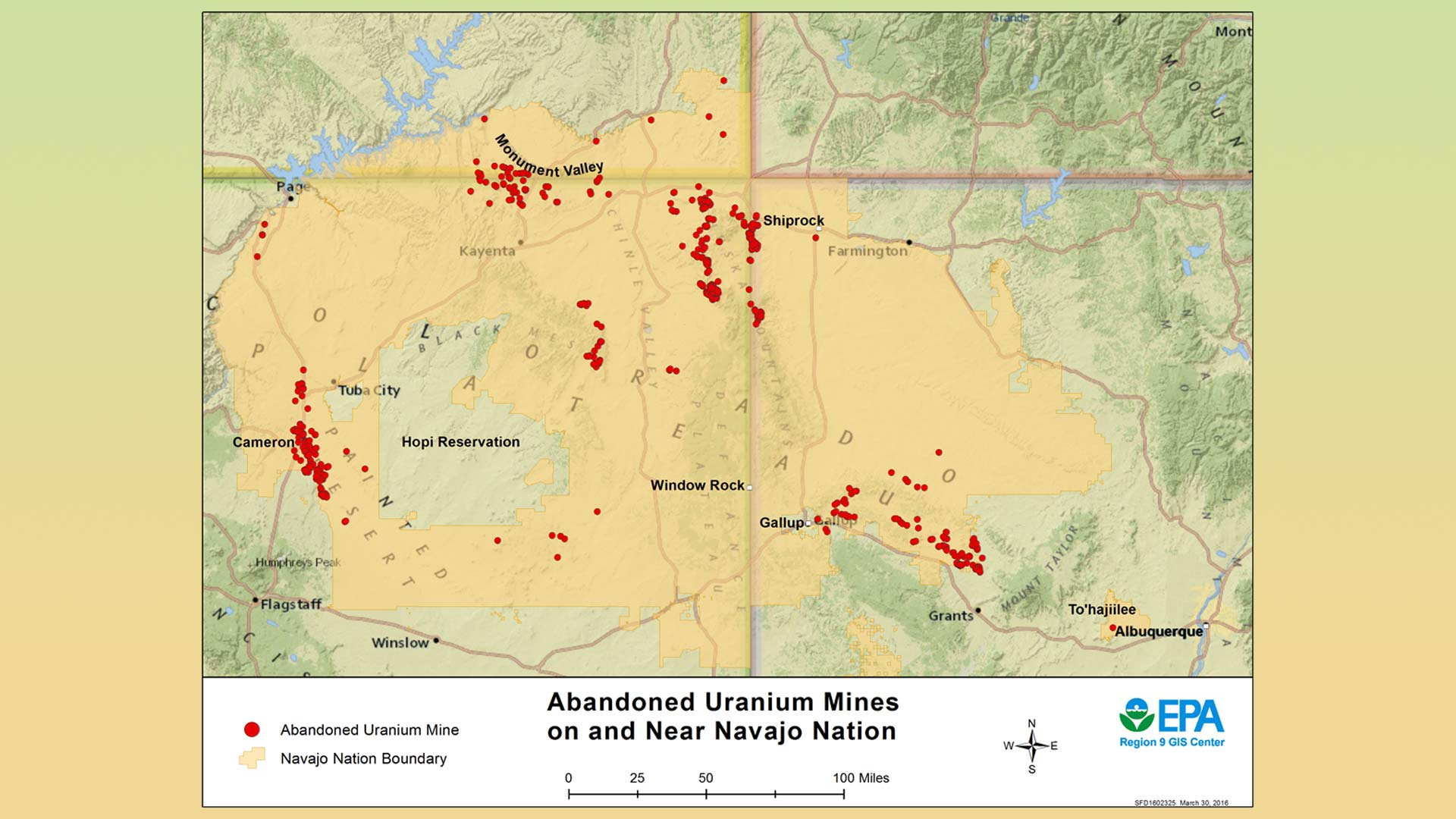 An EPA map dated March 30, 2016 showing abandoned uranium mines on the Navajo Nation.