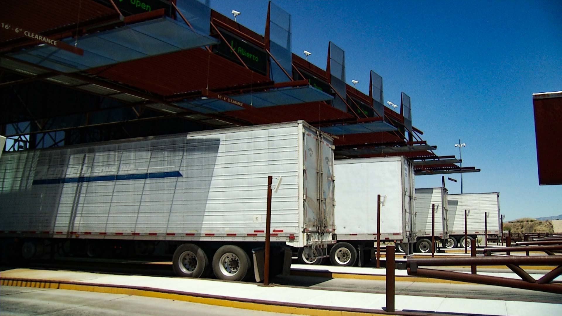 Trucks carrying cargo at the Mariposa Port of Entry on the border of Arizona and Sonora.