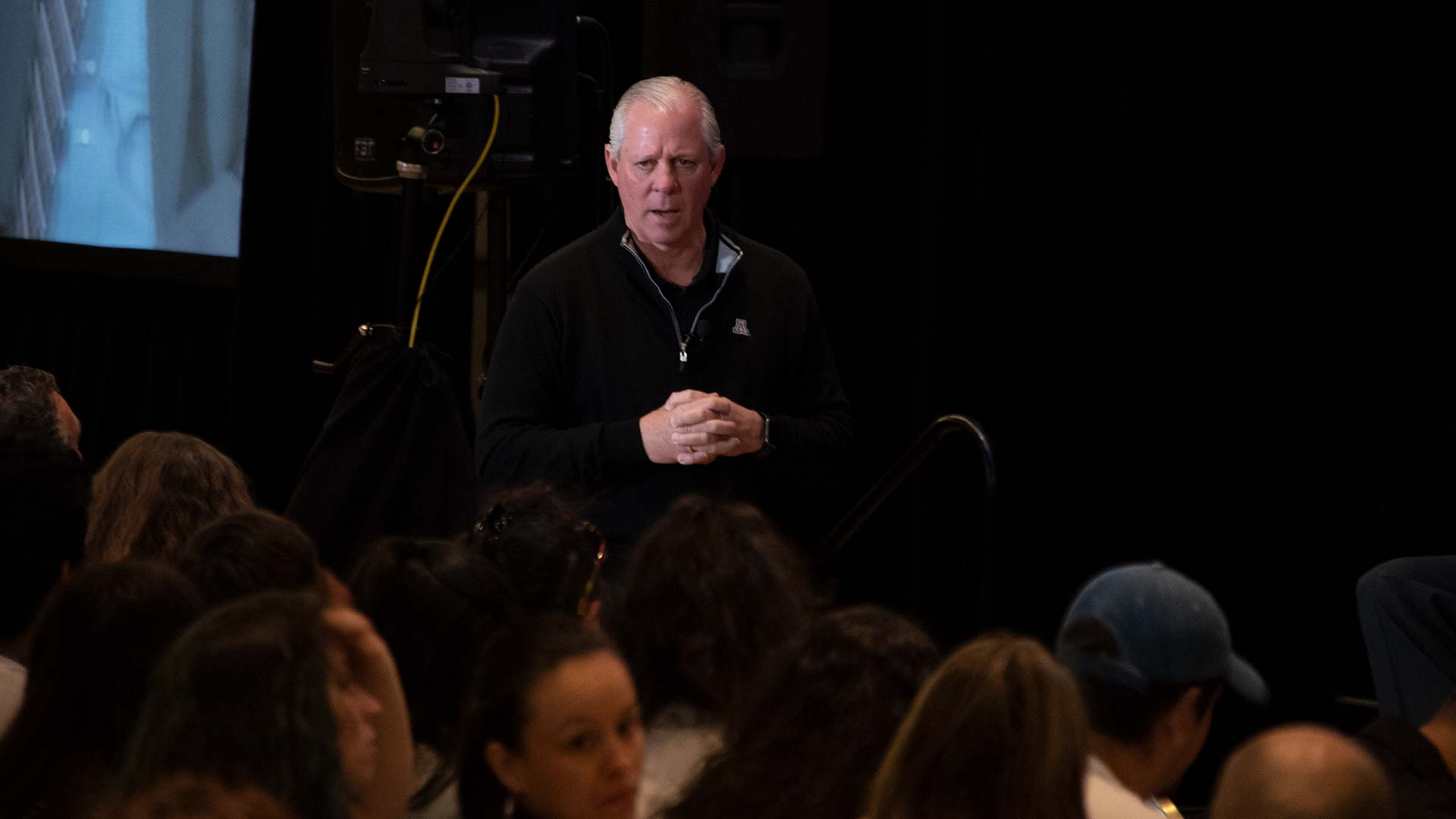 "UA President Robert Robbins addresses the audience at an event called ""campus conversation,"" April 23, 2019."
