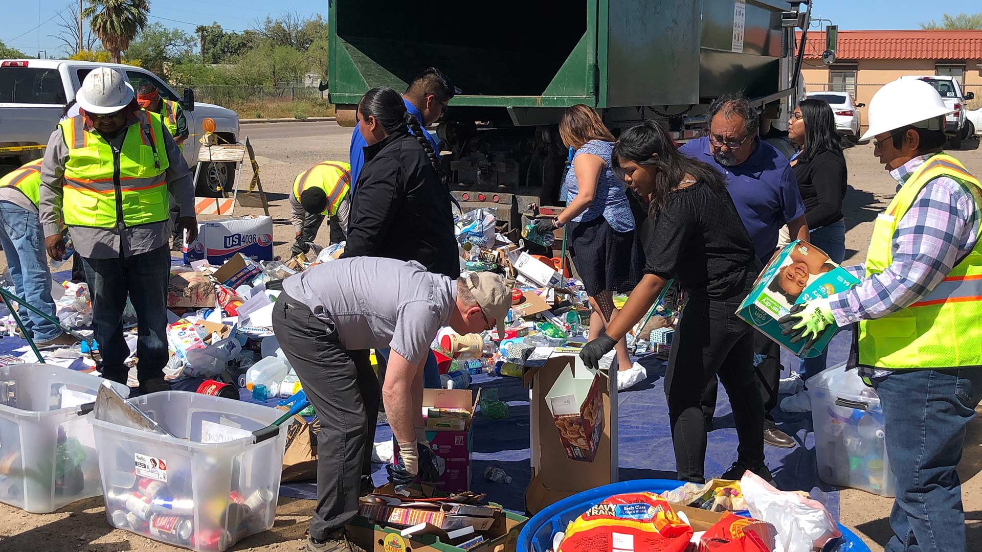 The Tohono O'odham Nation Youth Council and Representative Raúl Grijalva learned how to sort recyclables with the Tohono O'odham Nation Solid Waste Management team Monday, April 22, 2019.
