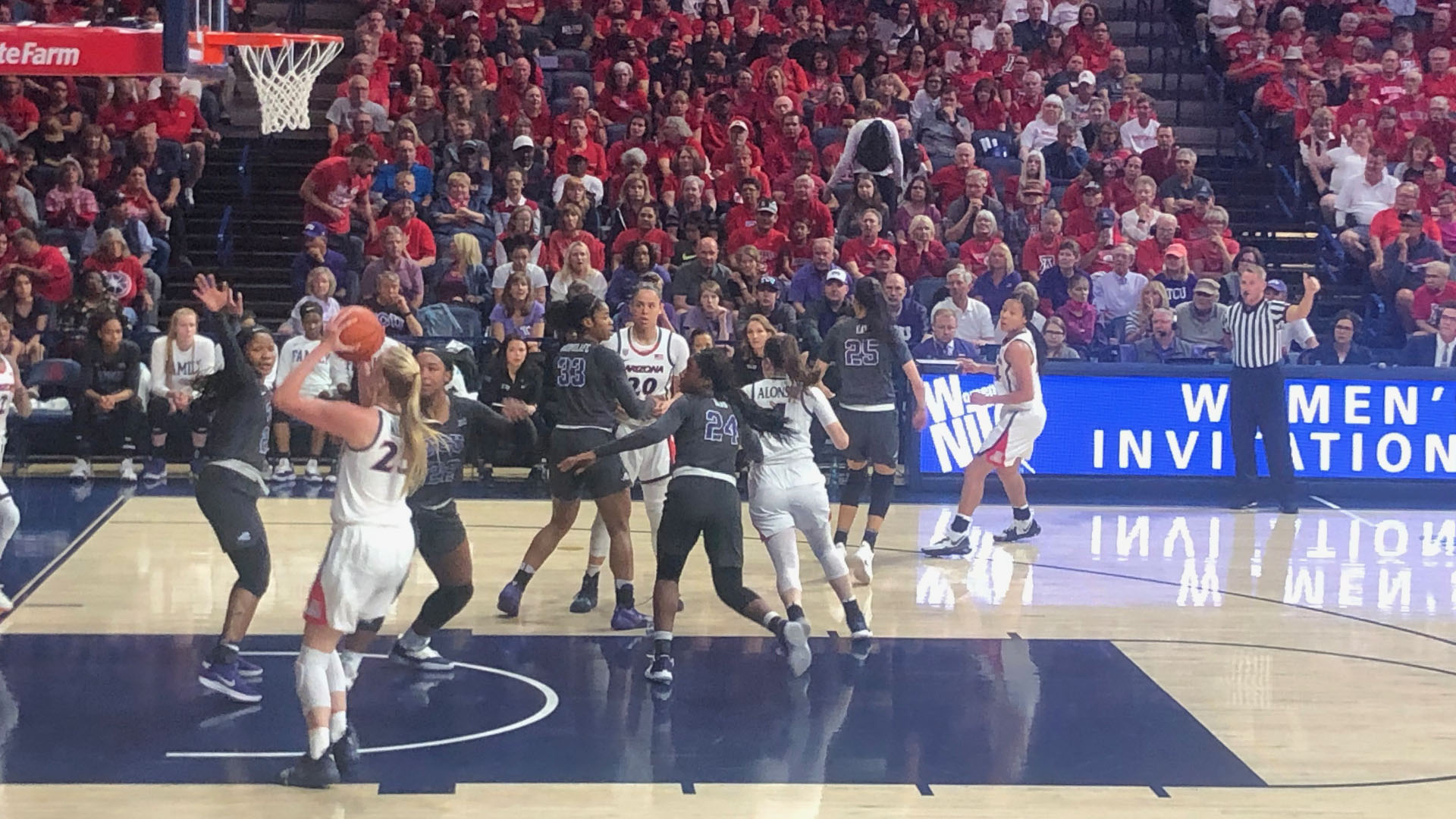 The University of Arizona women's basketball team in action against TCU in the 2019 National Invitation Tournament, April 3, 2019.