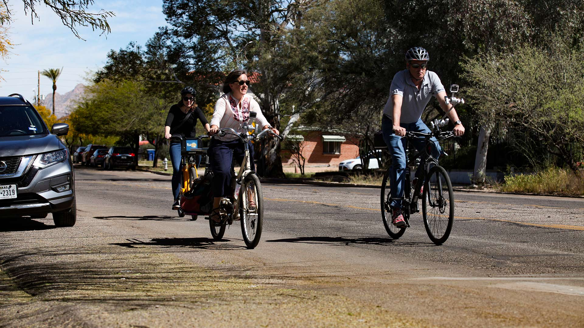 The Buzz staff rides the April 2019 Cyclovia route with Kylie Walzak of the Living Streets Alliance. April 2019