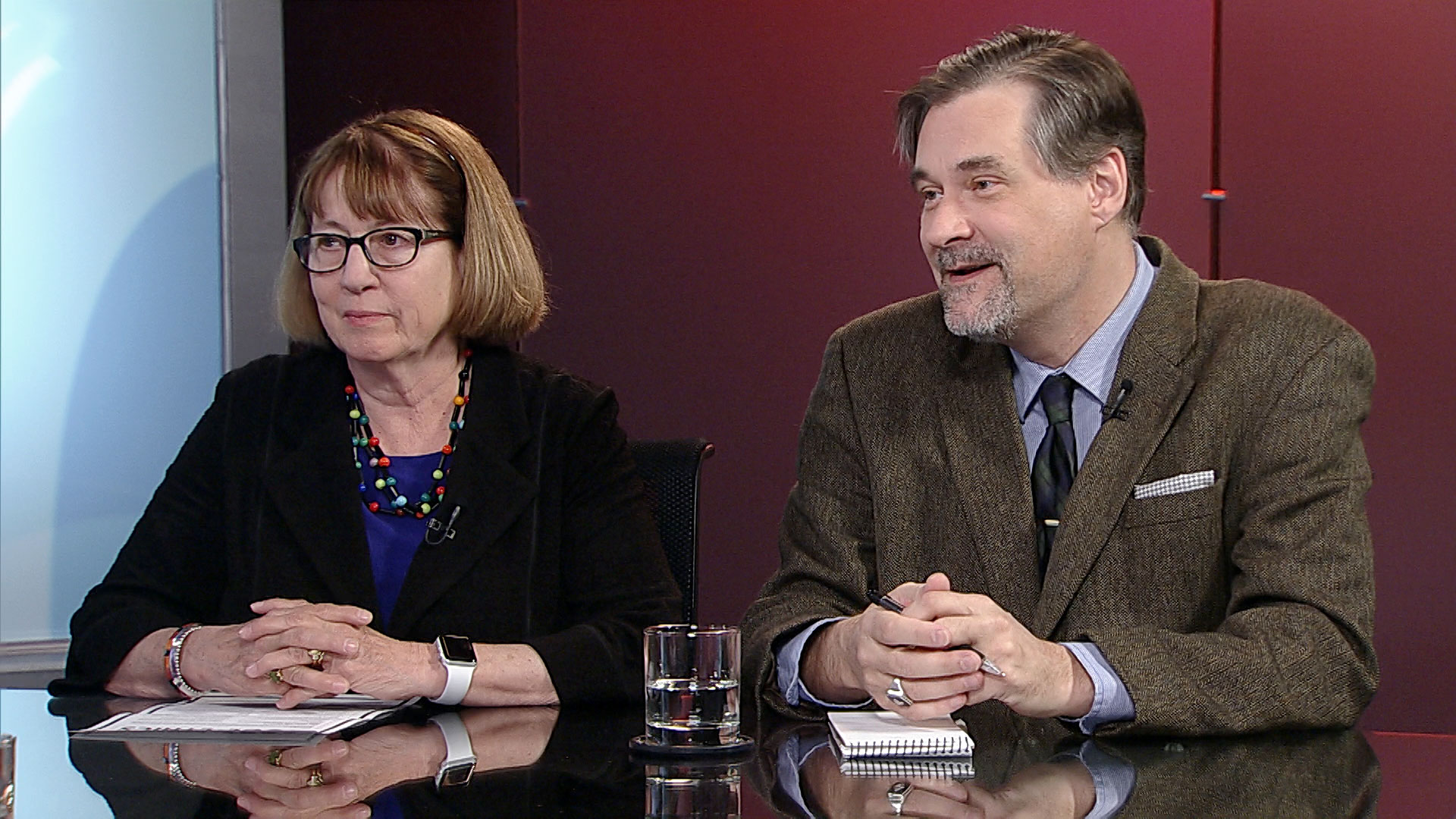 University of Arizona School of Journalism assistant professor Susan Swanberg and Tucson Sentinel editor and publisher Dylan Smith in the Arizona 360 studio on April 4, 2019.