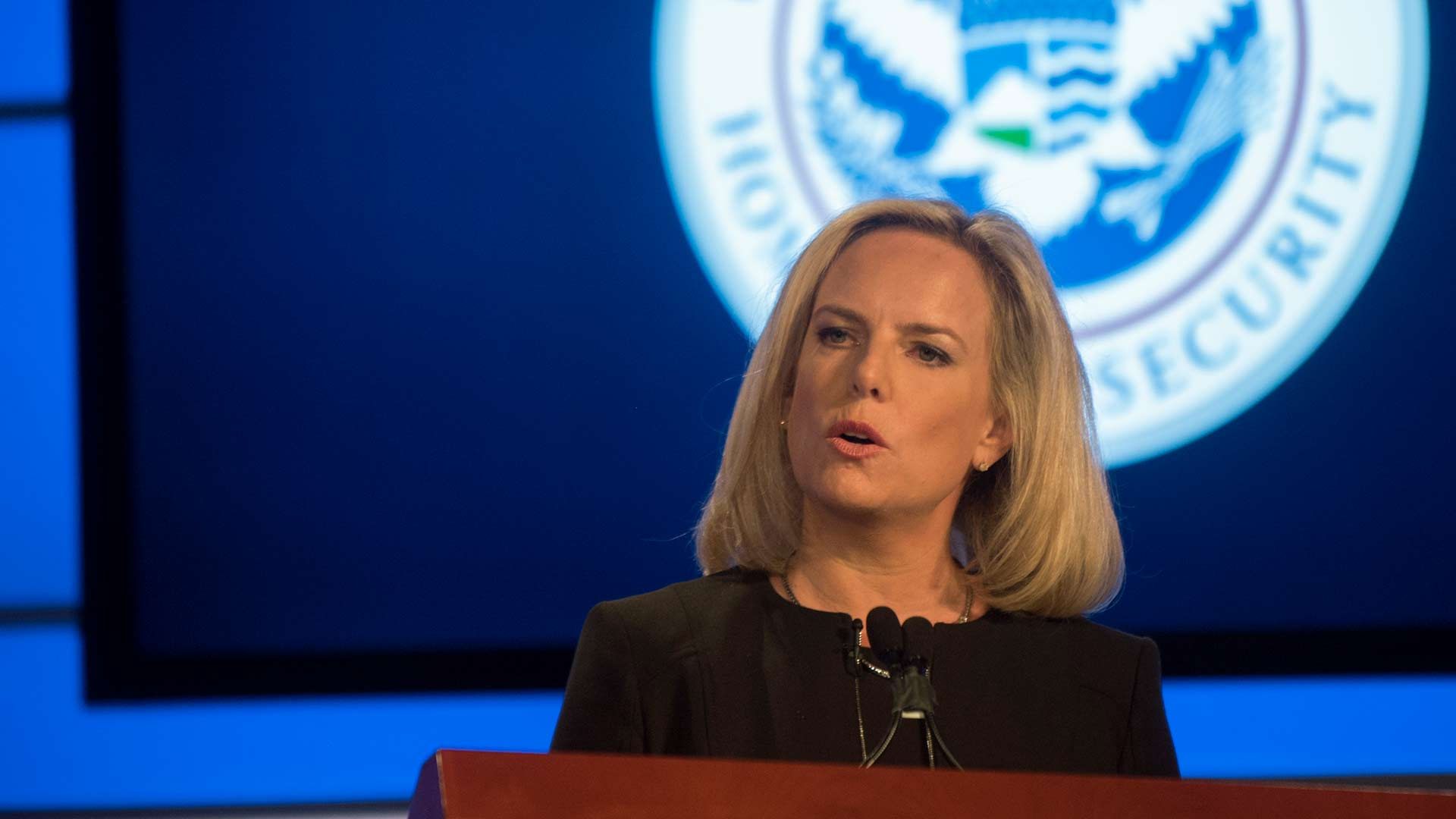 Kirstjen Nielsen speaking at George Washington University March 18, 2019. Nielsen announced she was stepping down as secretary of the Department of Homeland Security in April.