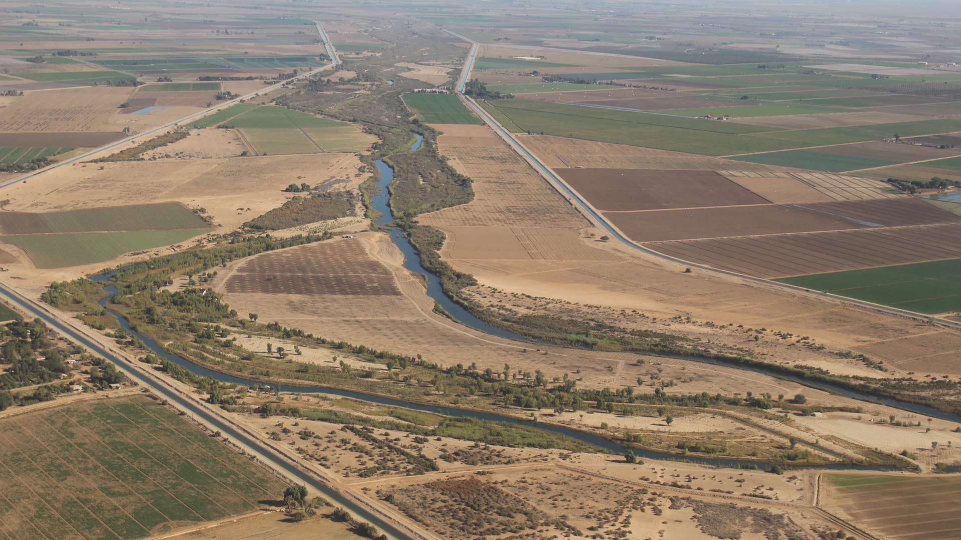 Bordered by irrigation canals, restoration site Chausse is meant to replicate a bend in the Colorado River, with marshy areas and native vegetation.