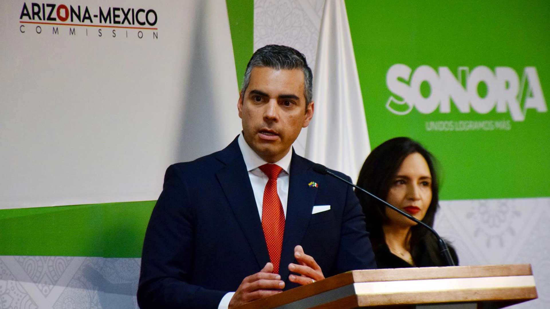 Juan Ciscomani talks about the Arizona-Mexico Commission's 60th Anniversary during a press conference in Hermosillo, Sonora, on April 29, 2019.