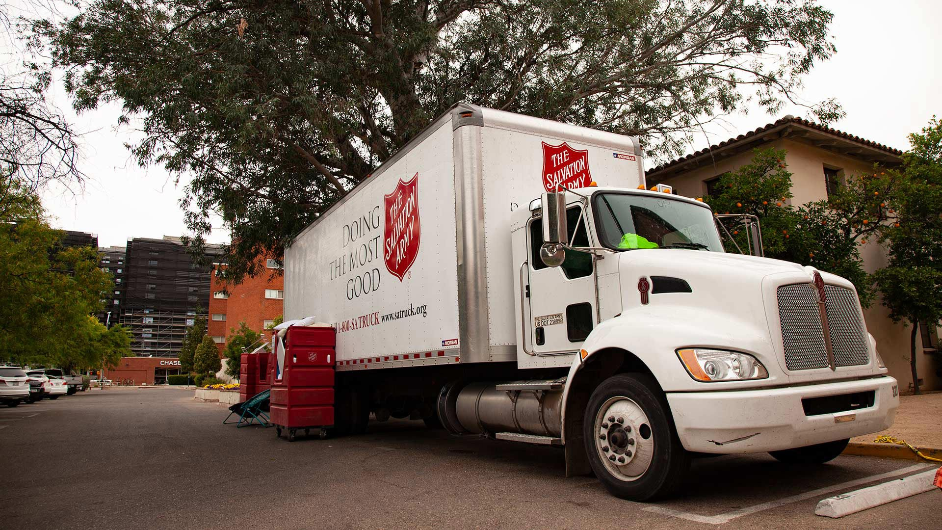 A Salvation Army truck on the UA campus at the end of the 2018-19 school year.