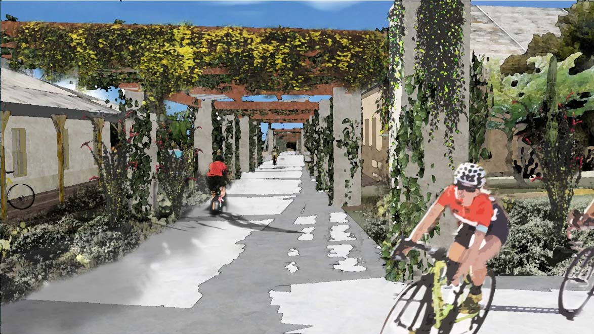 One of a series of illustrations depicting planned facilities at Bike Ranch Tucson.