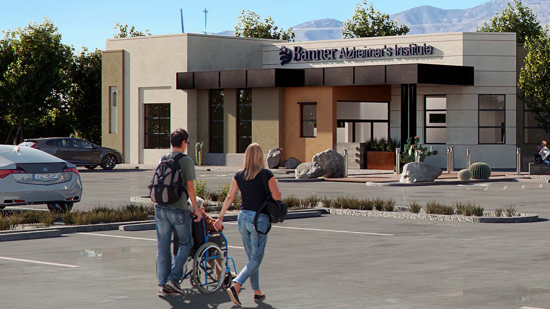 Press release rendering of the entrance to a planned Banner memory center in Tucson.