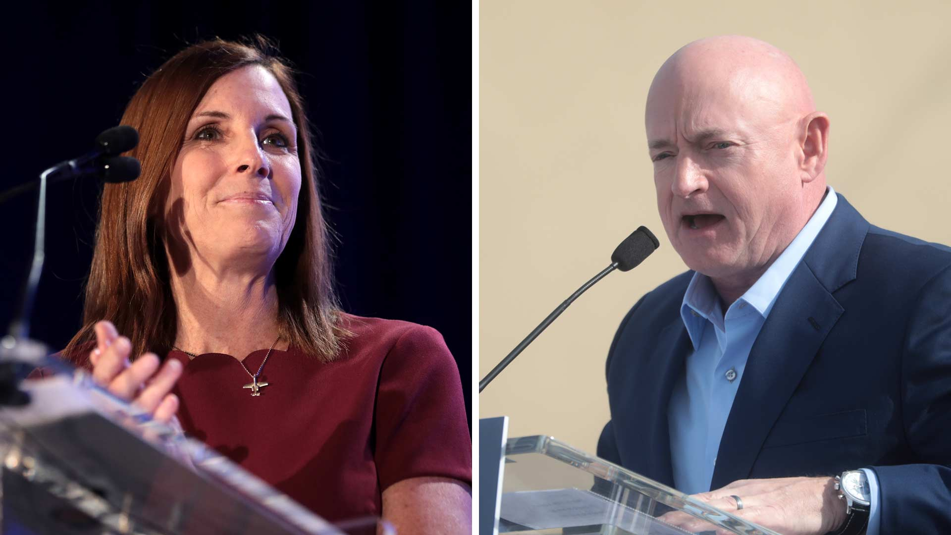 Republican Martha McSally, left, and Democrat Mark Kelly.
