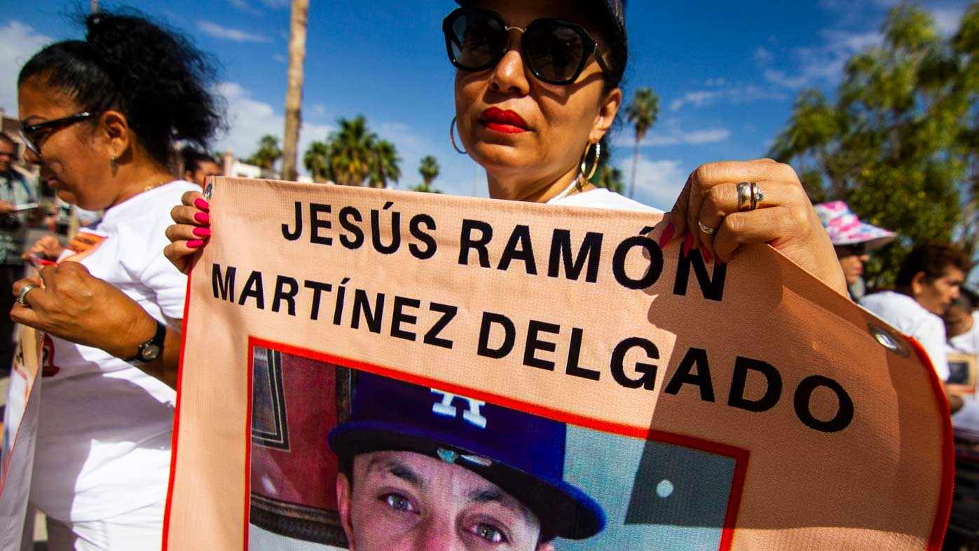 People marched in Hermosillo on Mother's Day in Mexico to call attention to their lost loved ones.