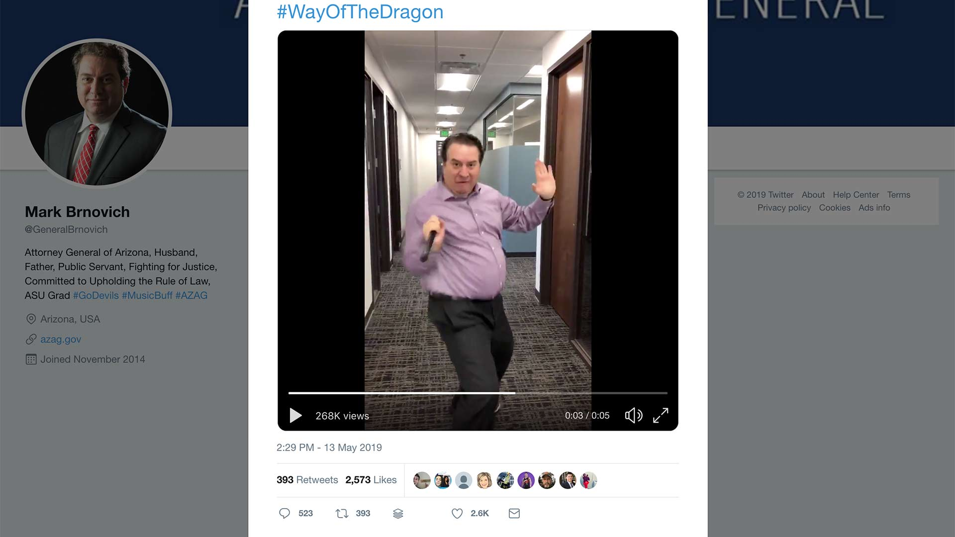 Screenshot of a video posted on Twitter of Arizona Attorney General Mark Brnovich using nunchucks.