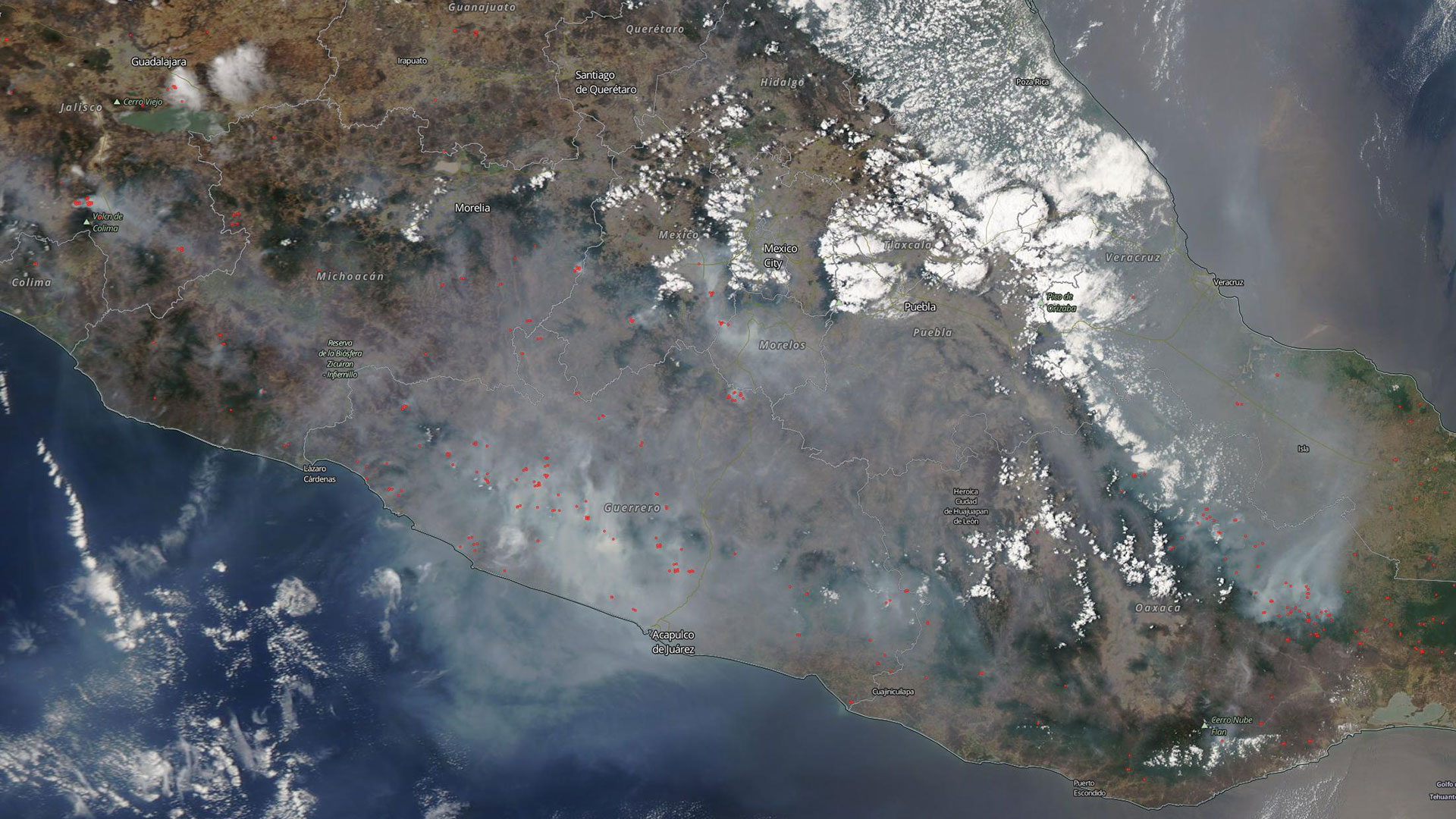 NASA Worldview snapshot over Mexico on May 12, 2019, red dots indicating active fires.