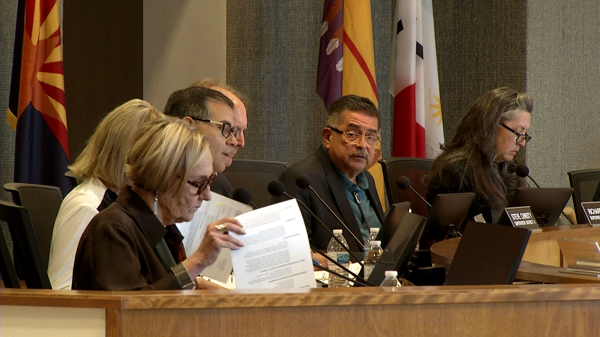 The Pima County Board of Supervisors sit during a meeting on May 7, 2019.