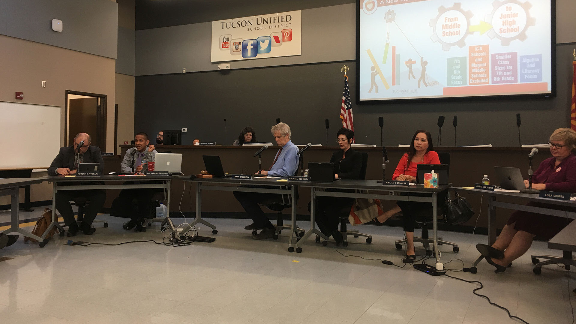 Superintendent Gabriel Trujillo shared his idea to move sixth graders back to elementary schools and house only seventh and eighth grade students in junior high schools at a Governing Board meeting April 30, 2019.
