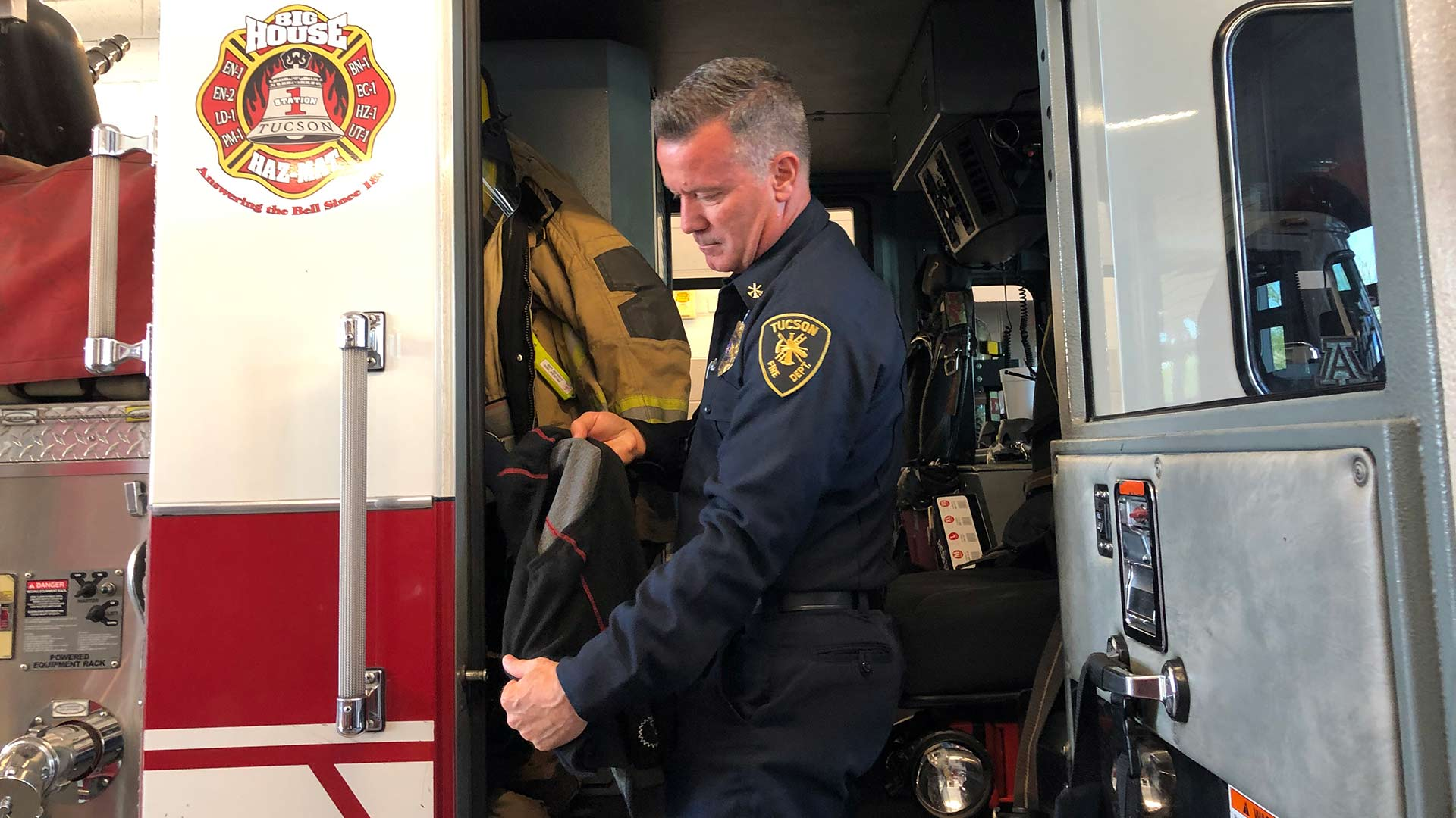 Health and Wellness Captain Darin Wallentine discusses improvements made to new firefighter hoods. He says a partnership has allowed the Tucson Fire Department to make improvements to its firefighting gear.