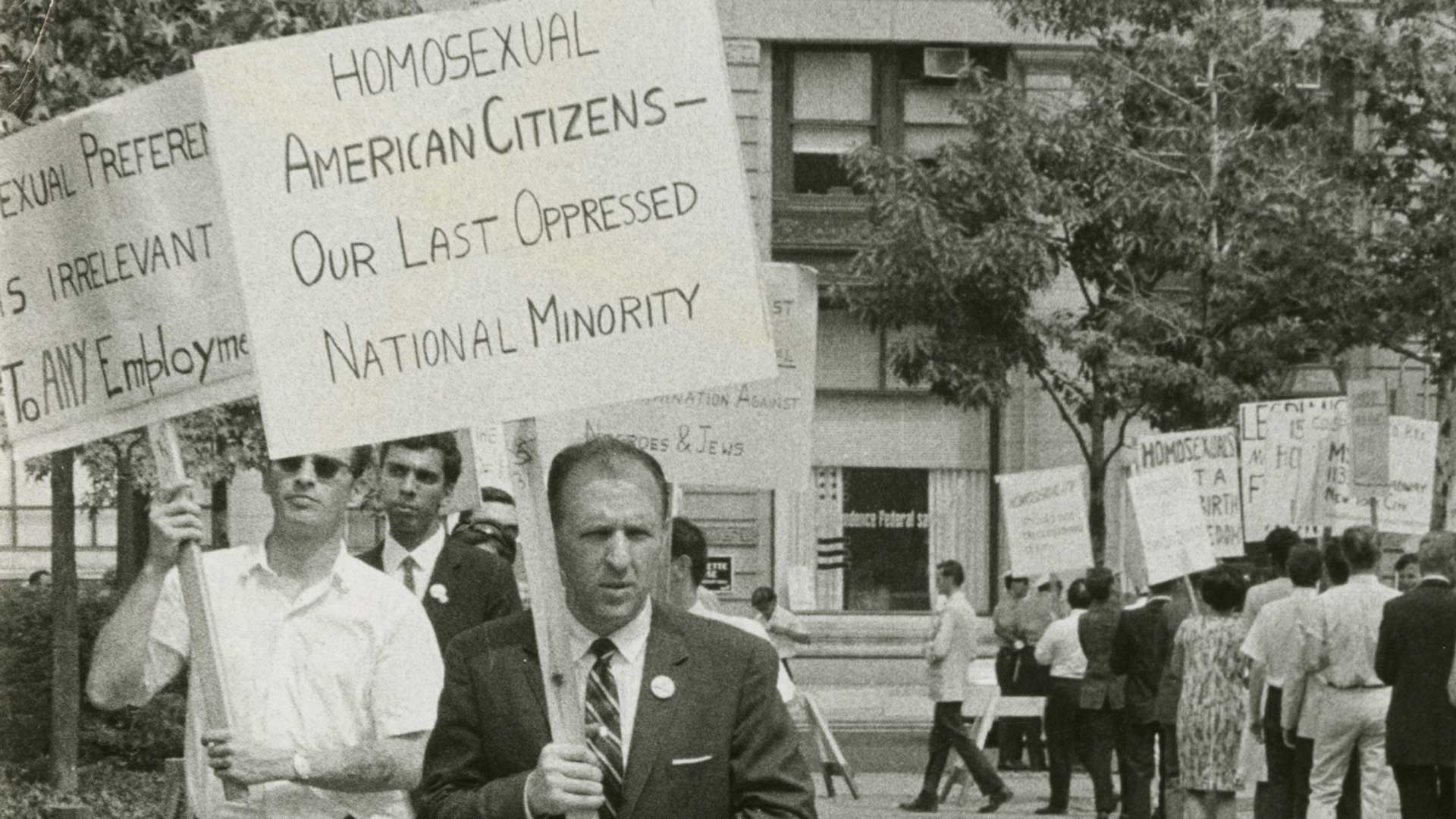 "Frank Kameny leads a picket line in front of Independence Hall in Philadelphia on July 4, 1965, four years before the Stonewall uprising. ""The Lavender Scare"" airs Tuesday, June 18 at 9 p.m. on PBS 6."
