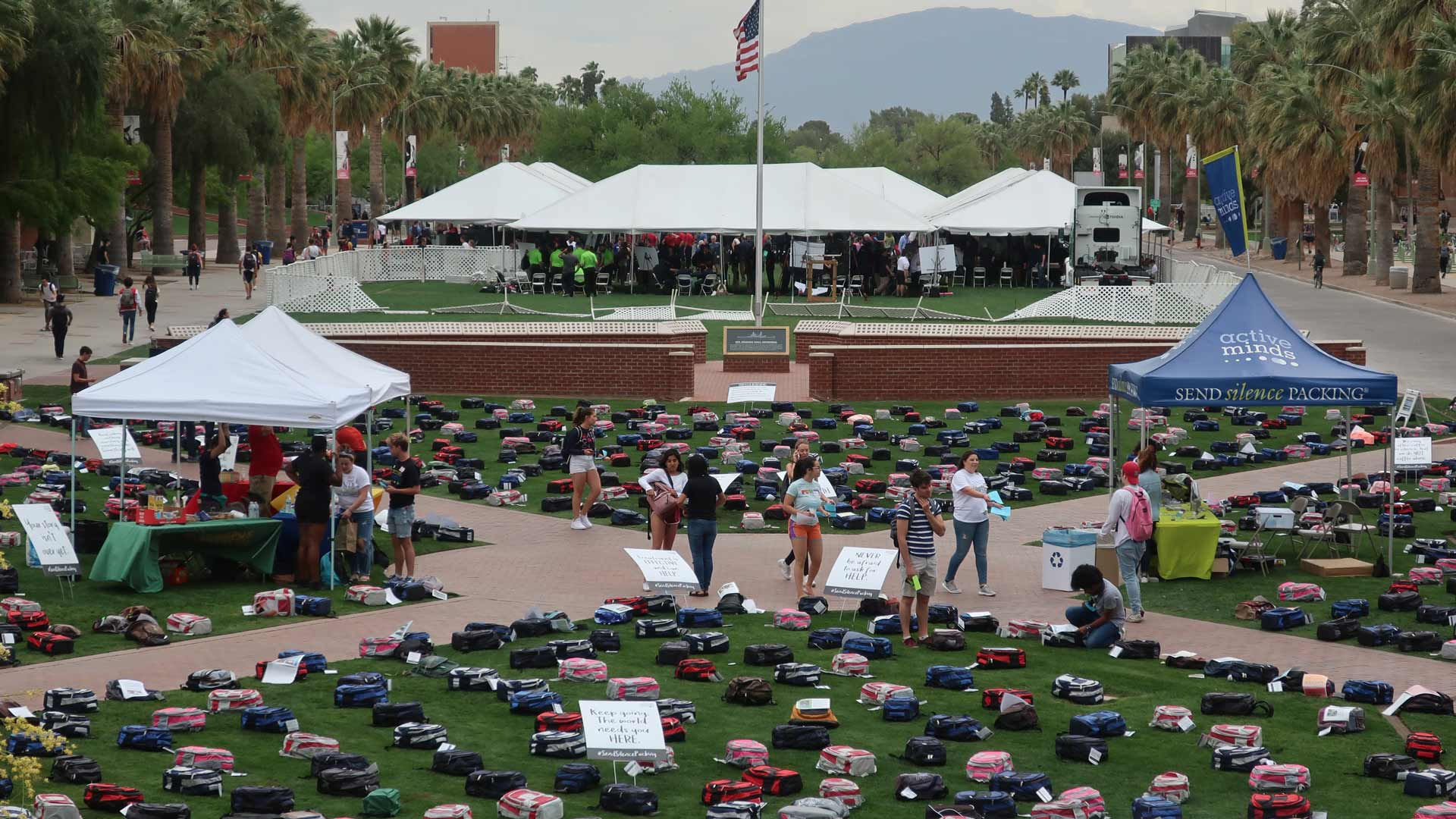 1,100 backpacks represent the number of college students who died by suicide in 2018. This event was designed to raise awareness about mental health and encourage suicide prevention.