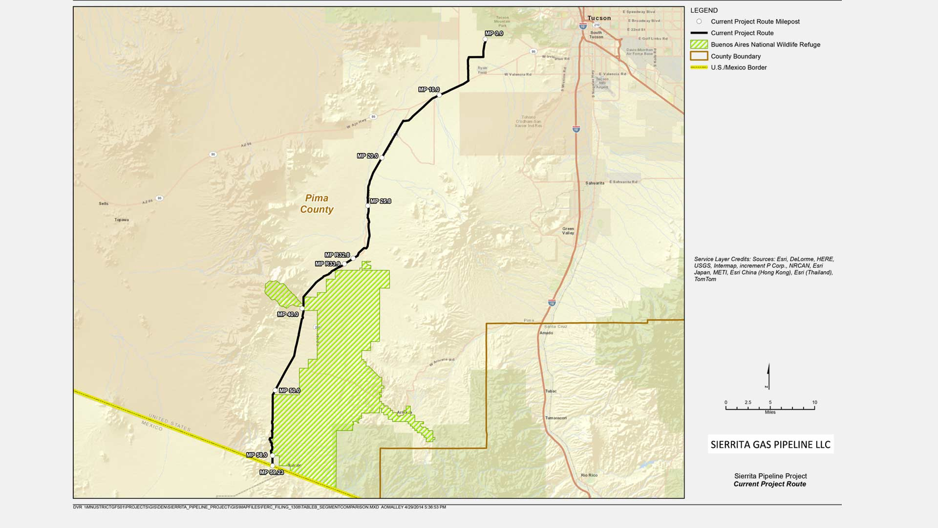 A map of the Sierrita Gas Pipeline from Tucson to the U.S.-Mexico border near Sasabe.