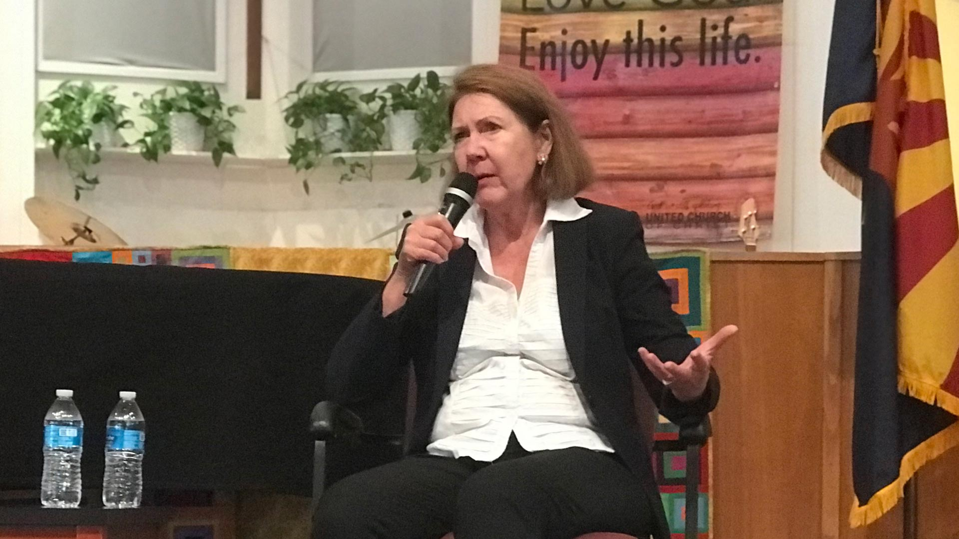 Congresswoman Ann Kirkpatrick takes question from her constituents at a town hall.  (May 29, 2019)