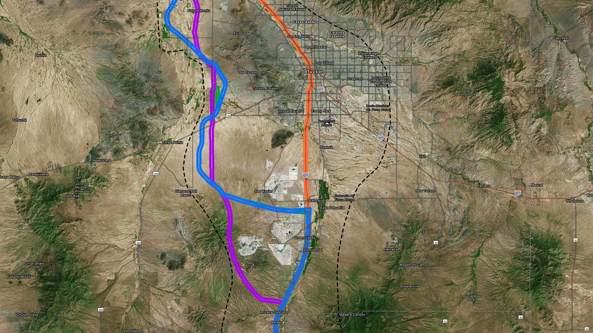 The Arizona Department of Transportation has released its environmental impact statement of the I-11 corridor. ADOT's preferred alternative is shown in blue.
