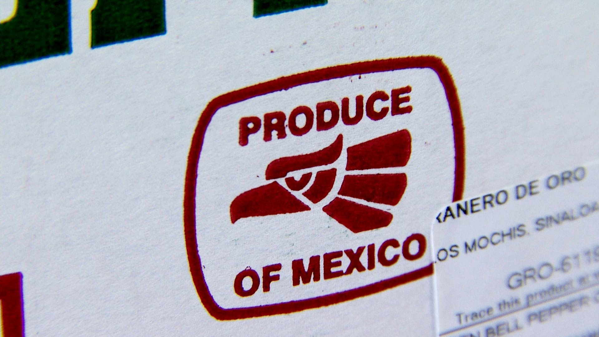 Produce of Mexico box at a distribution center.